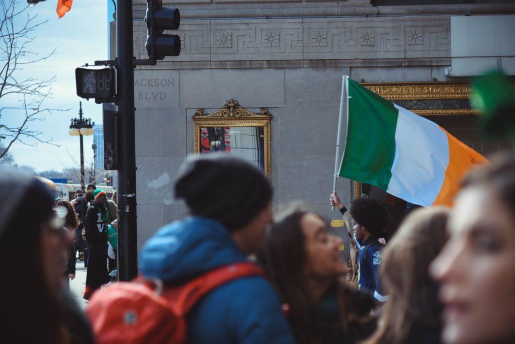 Irish flag in crowd