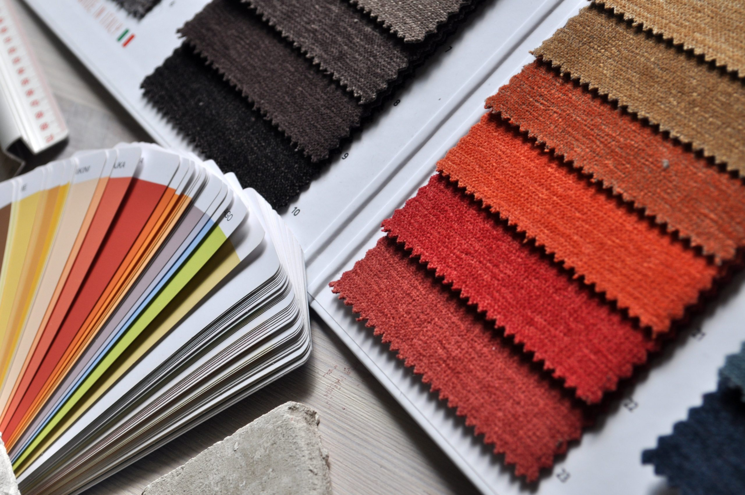 paint and fabric swatches